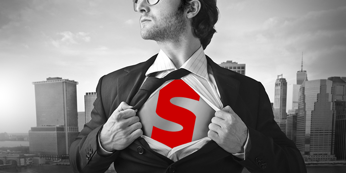 Clark Kent type man about to change into superhero with Streamline Material Resources logo.